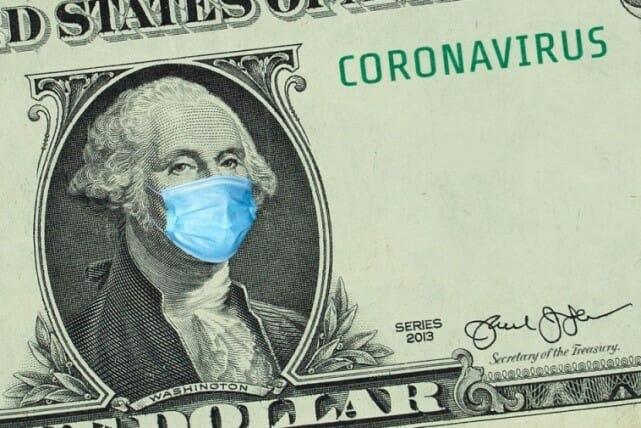 One dollar bill. George Washington is wearing a medical mask.