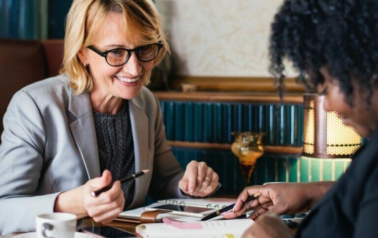 businesswomen having coffee