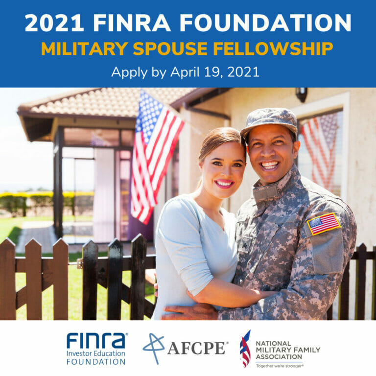 Servicemember and Spouse in graphic promoting 2021 FINRA Foundation Military Spouse Fellowship - Apply by April 19, 2021