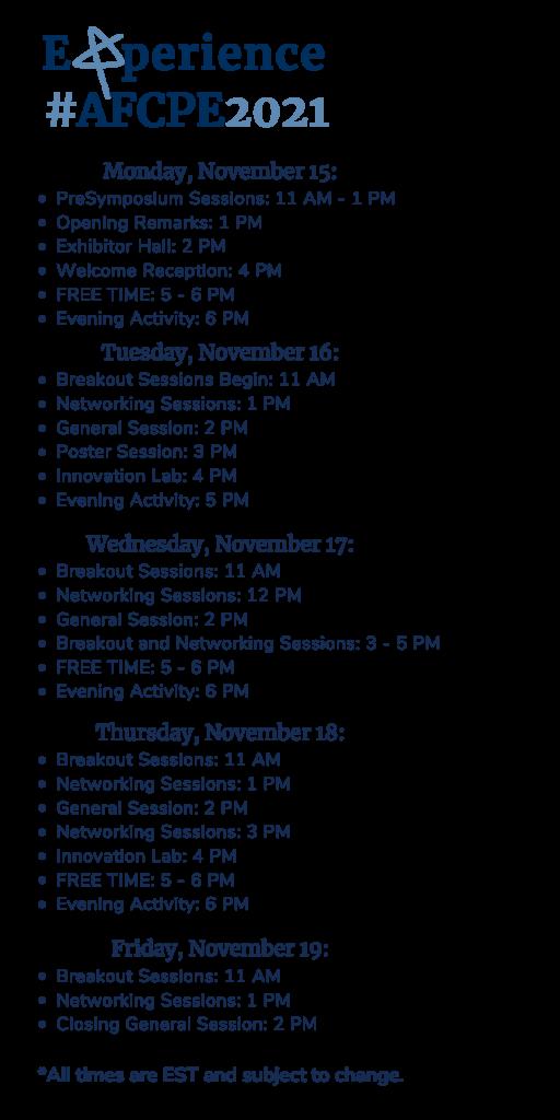 Symposium Schedule at a glance